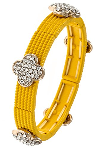 Bracelet Flower Station (GlitZ Finery Four Petal Flower Station Link Metal Bracelet (Yellow))