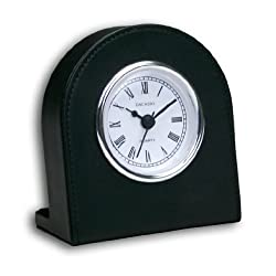 Black Leather Clock with Silver Insert