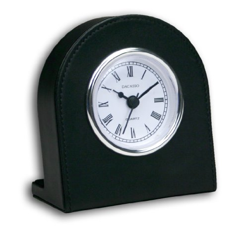 Dacasso A1066 Black Leather Clock w/Silver Insert,