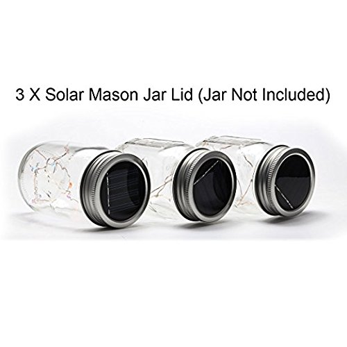 Mason Jar Lights, 3 Pack Solar Mason Jar Lid Insert, LED String Solar Light Jar Lid Insert for Garden Patio Outdoor Party Festivals, Wedding Decoration (Mutil-Color Flashing Lights)