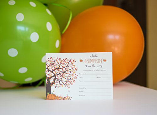 Pumpkin Baby Shower Invitations Fill in Style 20 Count with Envelopes - Fall Baby Shower Invitations - Front and Backside Printed on Heavyweight Cardstock by Party Printery (Image #4)