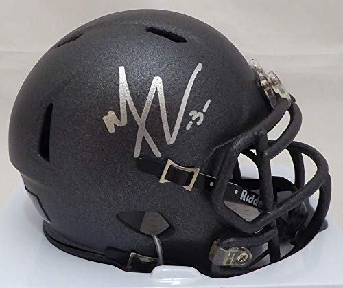 Thomas Autographed Helmet - Michael Thomas Autographed Ohio State Buckeyes Black Speed Mini Helmet Beckett BAS Stock #132772