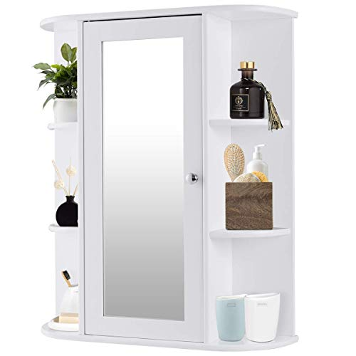 - Tangkula Bathroom Cabinet Single Door Wall Mount with Mirror Organizer Storage Cabinet(2 Tier Inner Shelves)
