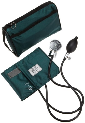 ADC Diagnostix 778 Pocket Aneroid Sphygmomanometer with Adcuff Nylon Blood Pressure Cuff, Adult, and Carrying Case, Dark Green