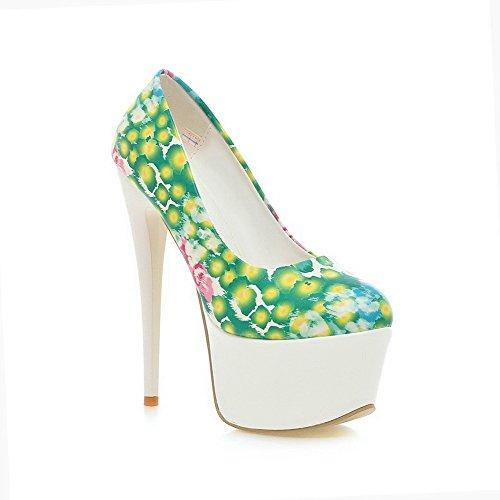 Amoonyfashion Femmes Assorties Couleur Pu Talons Hauts Rond Fermé Orteils Pompes-chaussures Vert