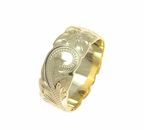 Yellow gold plated 925 sterling silver Hawaiian 8mm plumeria flower scroll cut out edge ring size 10
