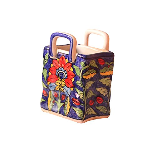 Handmade Crafted Khurja Pottery Multicolor Hanging Style Designer Ceramic Desk Table Accessories Organizer/Stationery Stand Holder/Pen Pencil Stand Holder Qty-1 Made by Indian Rural Awarded ()