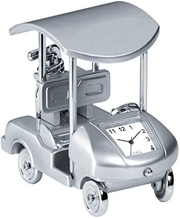 Design Gifts Miniature Silver-Tone Matte Golf Cart Clock