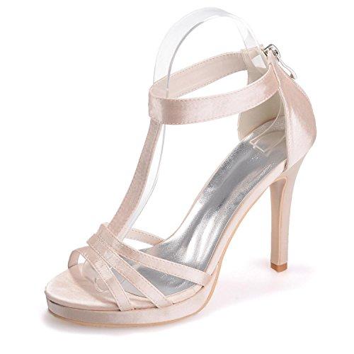 L@YC 5915-14 Frauen High Heels Seide Peep Toes Reißverschluss Hochzeit & abend Feine Sandalen Weitere Farben erhältlich Champagne