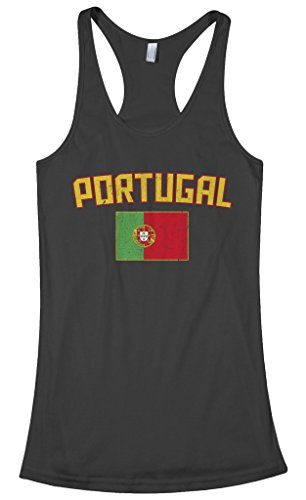 Threadrock Women's Portugal Flag Racerback Tank Top L - Women Portugal