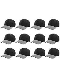 Plain Blank Baseball Caps Adjustable Back Strap Wholesale Lot 12 Pack