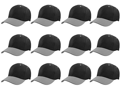 - Gelante Plain Blank Baseball Caps Adjustable Back Strap Wholesale LOT 12 PC'S 001-BlackGray-12PC