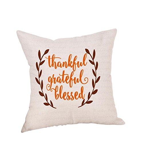 Square Pillow Covers, Kimloog Happy Thanksgiving Turkey Pumpkin Pie Linen Pillowcases Sofa Car Cushion Covers (17.7x17.7
