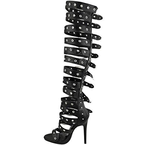 Thirsty Punk Bride Cuir Talon Argentée Fête Noir Goth Boucle Fashion Faux Gladiateur Boucle Style Clou Sandales Haut Femme TwqdO4q0