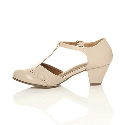 Out Women Ajvani Pumps T Shoes Court Nude Mid Heel Patent Size Cut Bar OAwCIxwqd