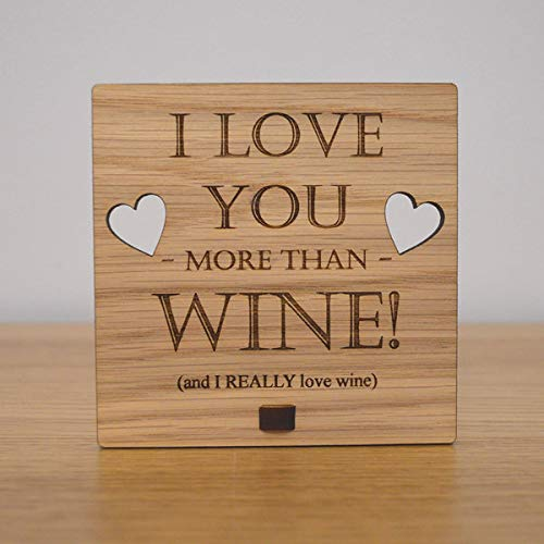 (123RoyWarner I Love You More Than Wine Personalised Oak Wooden Sign)