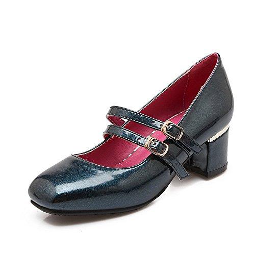 Amoonyfashion Delle Donne In Vernice Solido Tacchi Gattino Fibbia Quadrata Punta Chiusa Pompe-scarpe Blu
