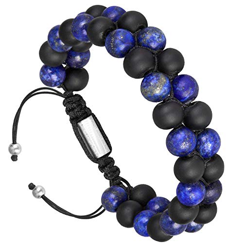 RIVERTREE Blue & Black Natural Matte Oynx Bracelet Beads Handmade 2 Layer Braided Adjustable 6.5