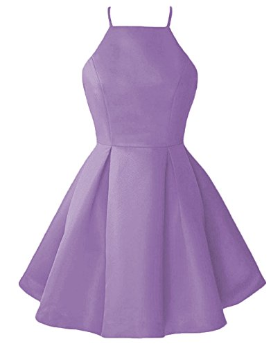 Line Dress Prom Party Open Homecoming Gowns Lilac Women's Short DYS Halter A Back p10RTWZ