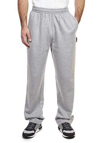 Spalding Mens Basic Comfort Fleece Open Bottom Sweatpants Athletic Lounge Pants Heather Gray X Large