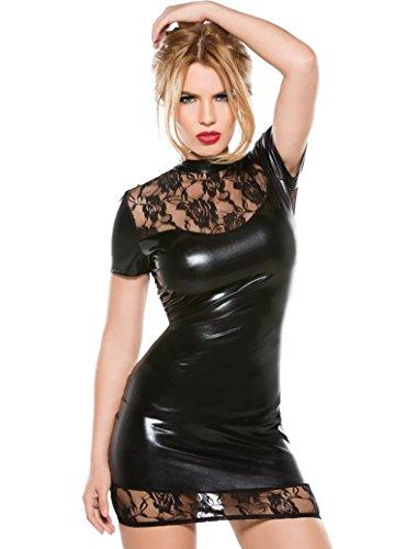 Kleid spitze leder