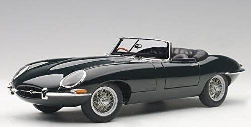 Jaguar E Type Series 1 3.8 Green with Metal Wire-Spoke Wheels 1/18 Diecast Model Car by Autoart 73604