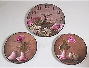 Analog Wall Clock Set with 2 matching tableaus