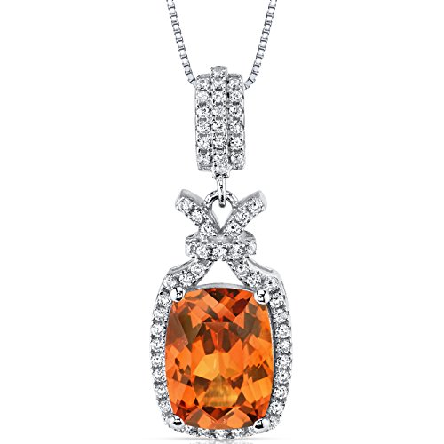 - 5.00 Carats Created Padparadscha Sapphire Pendant Sterling Silver Cushion Cut