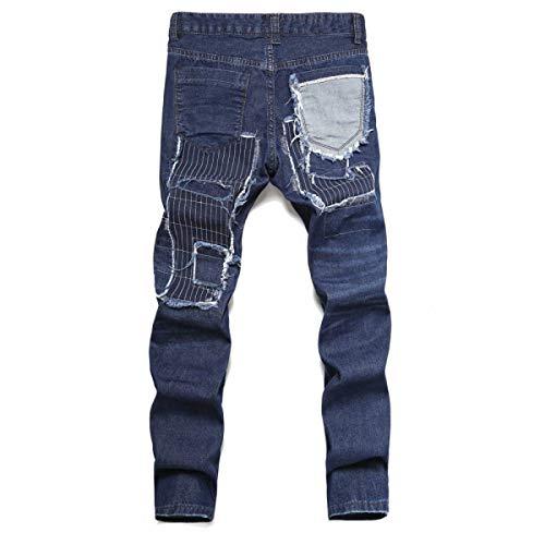 Jeans Pantaloni Moda Strappati Uomo Vita Distrutti Casual Media Di Da Fit Blu Etero Slim 5r0xqp5