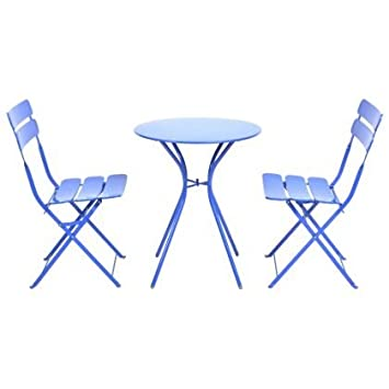 Steel 2 Seater Garden Bistro Set With Folding Chairs Blue Amazon