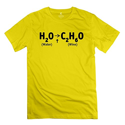 ZYA6W Men Water Wine Causal T-Shirt Yellow M,Novelty T Shirts