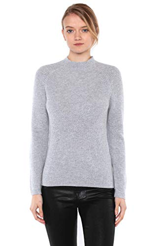 JENNIE LIU Women's 100% Pure Cashmere Long Sleeve Chuncky Rib Funnel Neck Sweater(M, ()