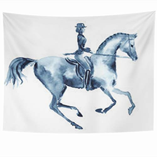 (Alfredon Wall Tapestry Hanging, 80 x 60 Inches Dressage Watercolor Rider Horse Equestrian Equine Sport Wildlife Sports Recreation Bits Tapestries, Decor for Home Bedroom Living Room Dorm)