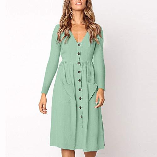JESPER Women Solid V Neck Button Dress Long Sleeve Pocket Casual Beach Long Maxi Dress Green by JESPER (Image #2)