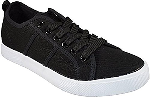 Shop Pretty Girl Womens Low Top Faux Leather Shoes Lace up Sneakers Basic Athletic Tennis Shoes Vegan Leather (10, Black and White) …