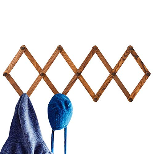 Homode Vintage Wood Expandable Peg Rack- Multi-Purpose Accordion Wall Hangers with 13 Hooks for Hats, Coat, Mugs, Scarf, Jewelry Storage