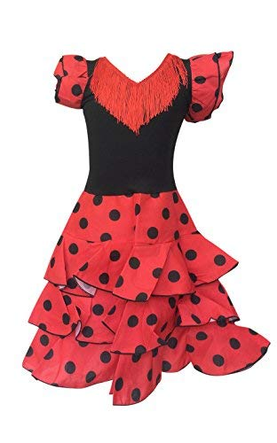 La Senorita Spanish Flamenco Dress - Girls / Kids - Red / Black Deluxe (Size 8 - 6-7 -