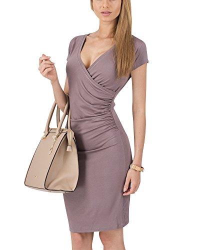 Moollyfox Mujer Vestido Estilo Jersey Corto Manga V-cuello Plisado Lápiz Vestido de Corte Café