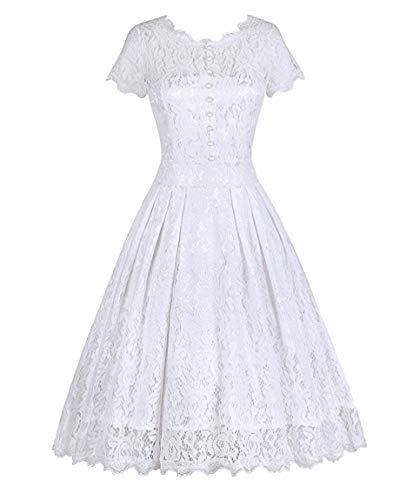 Tecrio Women Elegant Vintage Floral Lace Capshoulder Cocktail Party Swing Dress M White