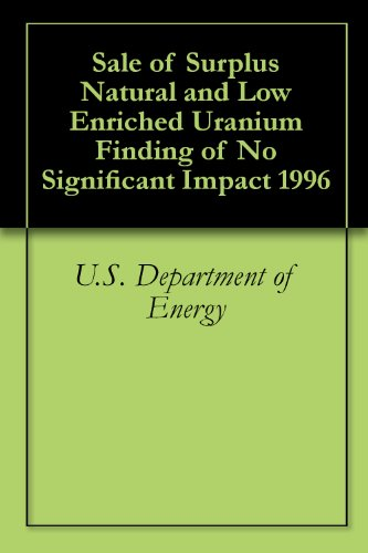 Sale of Surplus Natural and Low Enriched Uranium Finding of No Significant Impact 1996