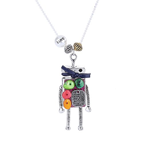 Charm Long Necklace with Cute Colorful Button Body-Anti Silver (nl005585-2) (Cute Button Necklace)