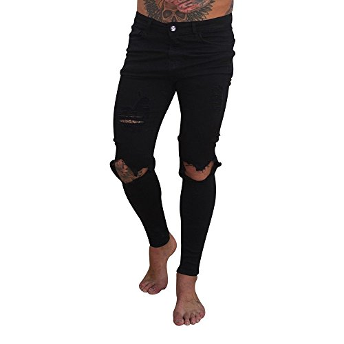 Men's Skinny Denim Pants Fashion Slim Fit Destroyed Motorcycle Holes Ripped Jeans Stretch Trousers ()