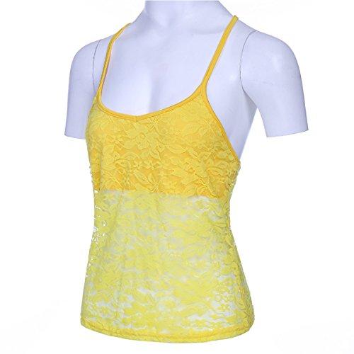 Sexy Yellow da Queenq in Pizzo Senza Spalline Donna Maniche Camicetta Senza Camicia qSwwBZt