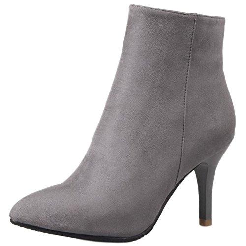 avec ville à de à chaussures Bottines TAOFFEN fermeture grises et talons hauts glissière 8nOpwBq0