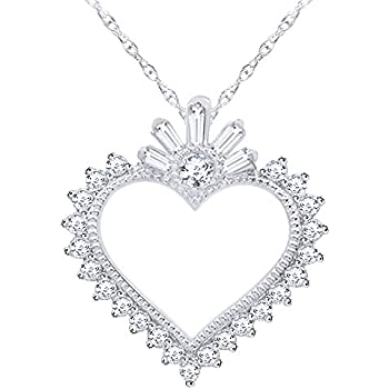 Wishrocks Baguette /& Round Cut White Cubic Zirconia Heart Pendant Necklace in Sterling Silver
