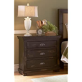 Progressive Furniture Willow Distressed Black Nightstand, ...