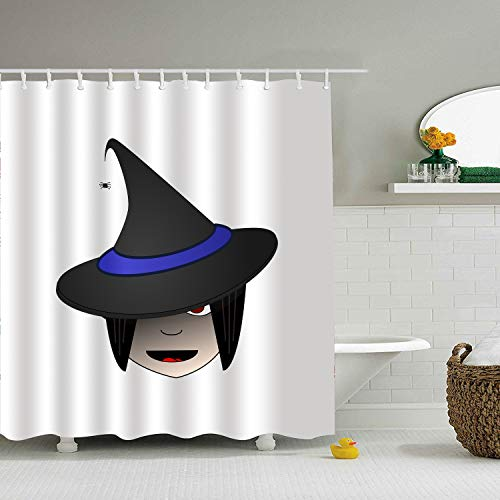 BiesMo Personality Shower Curtain,Witch Head Halloween Female Clip-Art,72 X 72 Inch]()