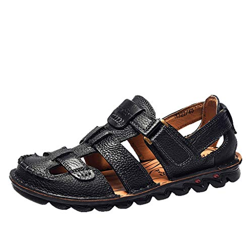 Respctful✿Summer Sandal Men Outdoor Hiking Sandals Breathable Leather Fisherman Sandal Casual Leather Water Shoes Black