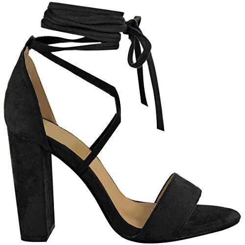 Shoes Lace High Chunky Up Ankle Faux Sandals Heel Womens Black Size Fashion Around Thirsty Suede Tie Wrap xw47FFU