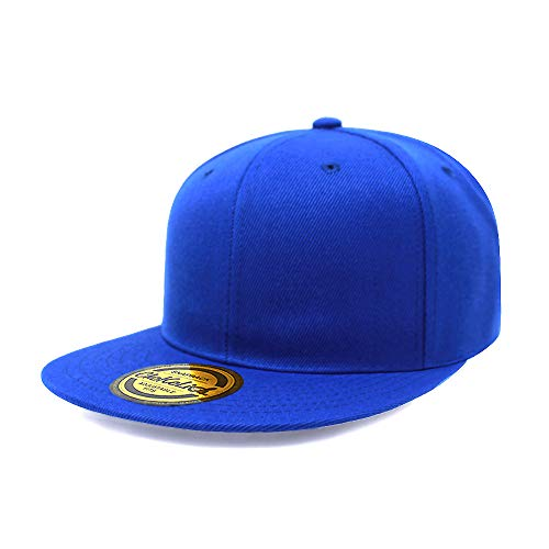 Flat Visor Snapback Hat Blank Cap Baseball Cap - 8 Colors (Royal)